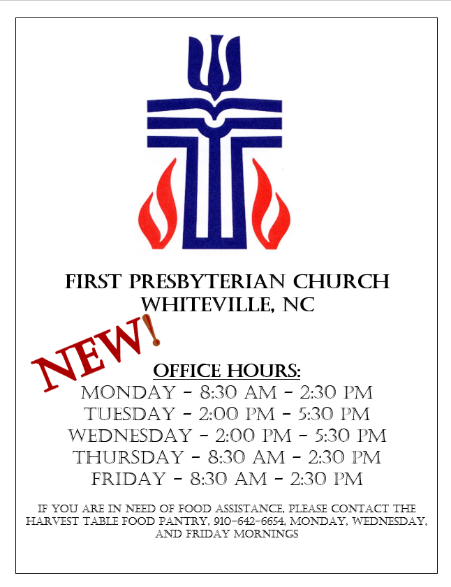 New office hours, 8-2020